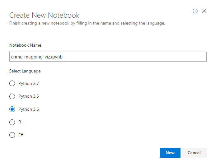 Azure Notebooks New Notebook Dialog