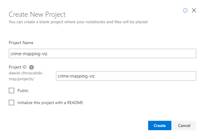 Azure Notebooks New Project Dialog