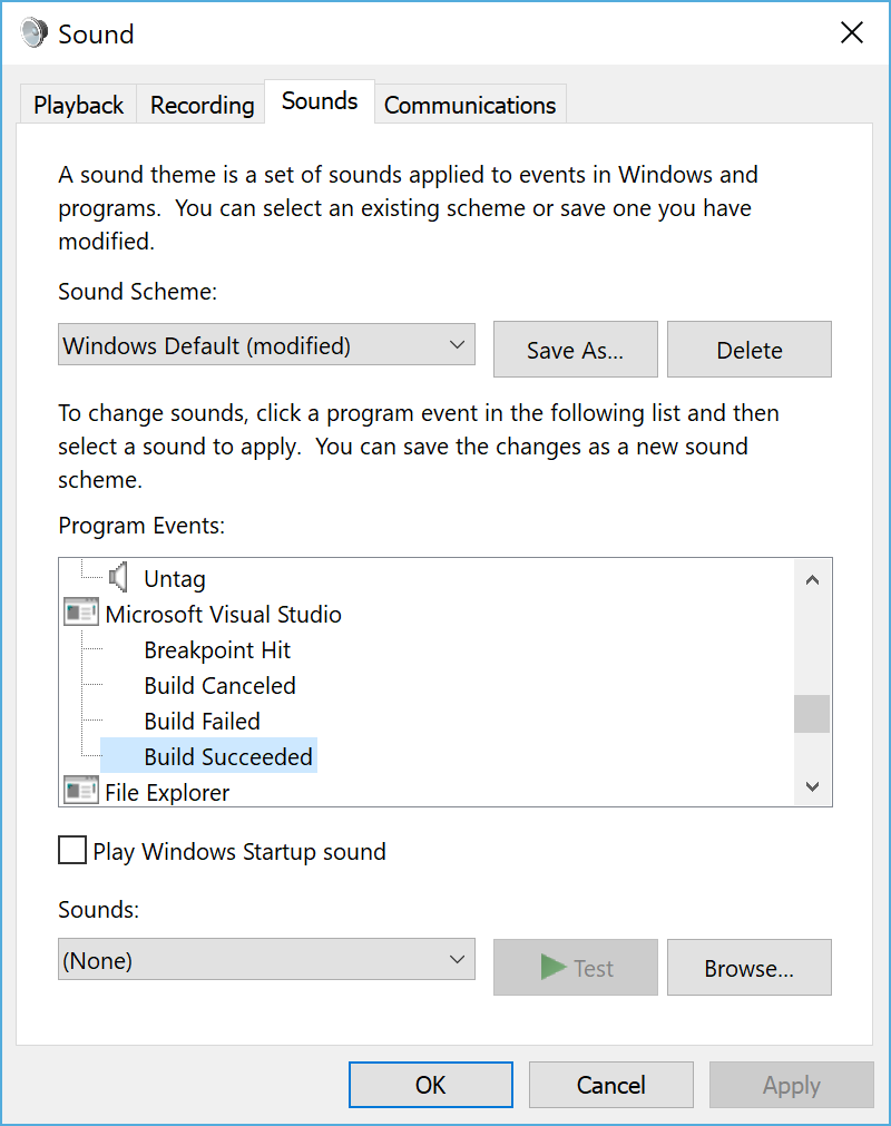 Visual Studio Sound Settings