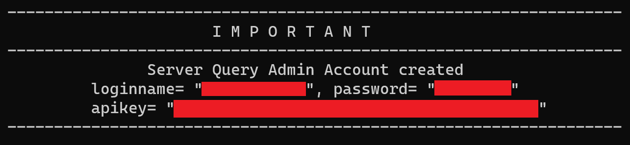 TeamSpeak 3 container output with admin credentials